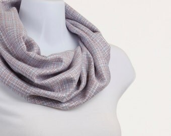 Elegant  Soft Blue, White and Red Woolly Infinity Scarf ~ WL034-S5