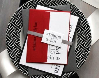 "Modern Wedding Invitations, Wedding Invitations, Red Wedding Invitations, Black and White Invitations - ""Urban Elegance"" Deposit"