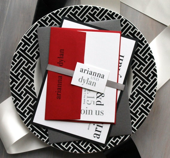 Description. Urban Elegance   Modern Wedding Invitations Are Simply Classic  With Black, White Red ...