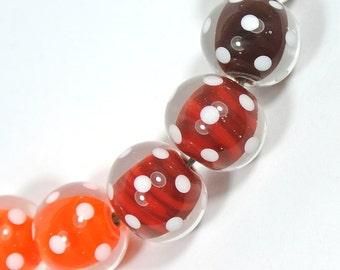 Polka Dot Handmade Lampwork Bead Set