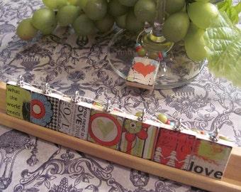 LOVE  Reversible Scrabble Tile Wine Charms   Set of 8