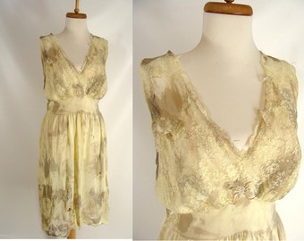 BLOOD OPTIONAL Custom Made Distressed Vintage Yellow Full Slip Nightgown Zombie Halloween Costume L XL