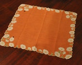 Cute and Sassy Orange With White Flowers Handkerchief or Linen