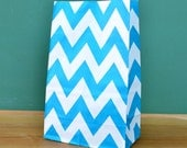 CLEARANCE SALE Turquoise Chevron Stand Up Paper Bags -12- Candy Buffet, Party Favor, Wedding Favor - 5 x 7 Flat Bottom Bags
