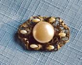 Vintage Brooch Pearl Gold Filigree Victorian Revival Edwardian Bridal Sash Jewelry Wedding Jewellry Gift Christmas Birthday