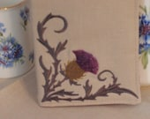 Tea Wallet Scottish Thistle Embroidered on Natural Linen Made to Order