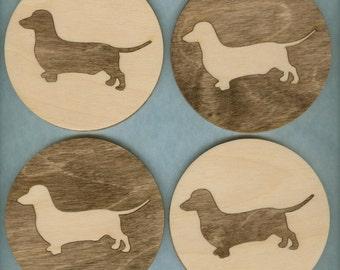 Wood Coasters Dachshund Dog - Laser Cut Inlaid Set of Four (CI-209)