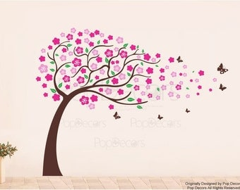 Flower Tree and Butterflies(71inch H) -Designed by Pop Decors