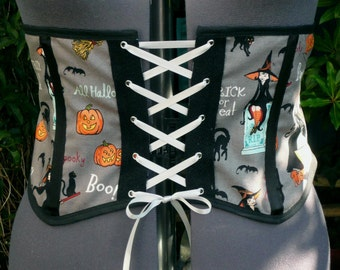 halloween underbust corset  waspie Waist cincher. witchy print with silver lacing. one only OOAK