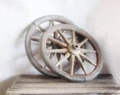 "Vintage Wood Wheels Primitive 12"" Diameter Wagon Country Western Farmhouse Decor Country Wedding Repurpose"