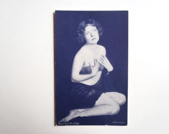 Antique Arcade Card 1920s Pin-Up Exhibit Supply Company Chicago Collectible Slightly Risque Pin Up Card Dark Blue Ink