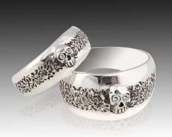 Skull Wedding Ring Set, Sterling Silver Skull Wedding Ring set with Diamonds,.925