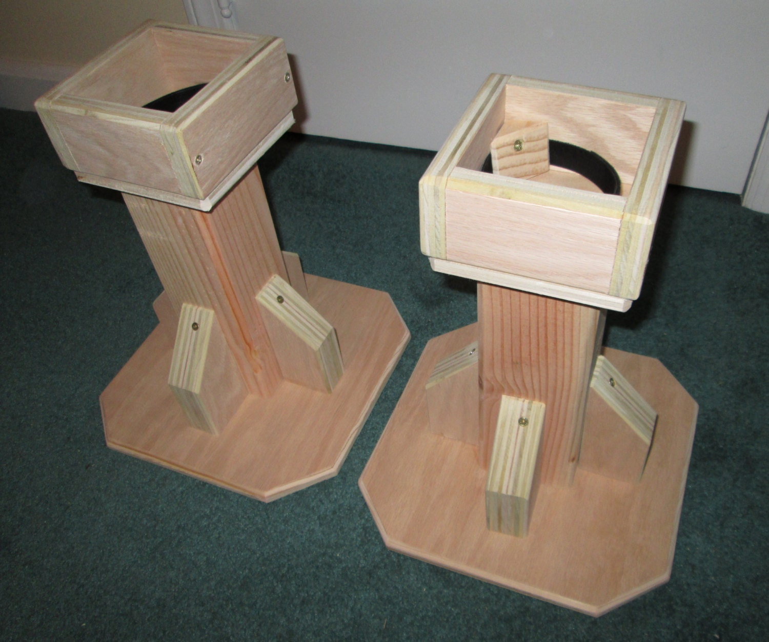 12 inch bed risers all wood construction unfinished. Black Bedroom Furniture Sets. Home Design Ideas