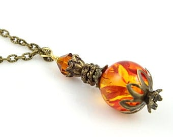 Potion Vial Pendant - Fire Essence - Brass and amber