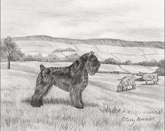 "Limited edition Bouvier giclee print, ""The Guardian"" by Cindy Alvarado"