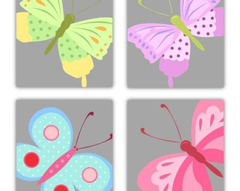 """Butterfly Art For Girls // Butterfly Decor // Butterfly Art // Colorful Art for Girls Room // Set of Four 11x14"""" PRINTS ONLY"""