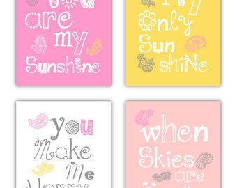 You are my sunshine prints for kids Paisley Art Prints, 4-8x10 prints, Cute for Nursery, toddler room, or playroom
