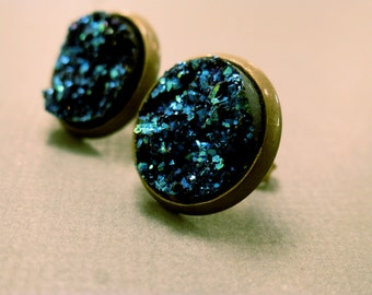 Faux Druzy Studs: Turquoise Faux Stone Earrings, Cabochons, Druzy, Resin, Turquoise