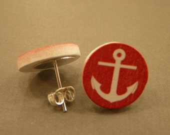 Anchor Studs: Wooden Anchor Charm Earrings, Red Anchor, Sailor, Nautical, Sailing, Marine, Ocean, Navy