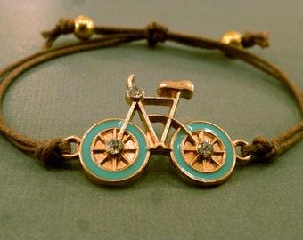 Bicycle Charm Bracelet: Gold Tone Bicycle Charm Bracelet, Adjustable, Friendship Bracelet, Colour Choice, Trendy, Fall