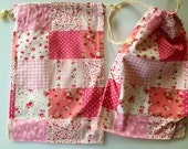 Pink Country Floral 4x6 Cotton Favor Bags, Birthday Party Favor, Shabby Chic, Floral, Pink Floral Patchwork, Polka Dot, Stripe, Country