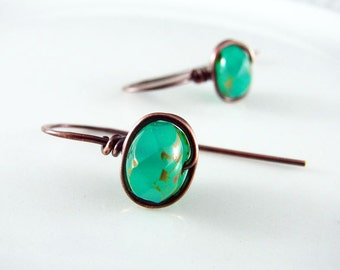 Wire Wrapped Earrings Copper Jewelry Turquoise Earrings Wire Wrapped Jewelry Copper Earrings Czech Picasso Glass