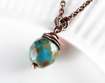 Wire Wrapped Pendant Turquoise and Copper Jewelry Wire Wrapped Jewelry Copper Necklace Turquoise Necklace Wire Wrapped Necklace