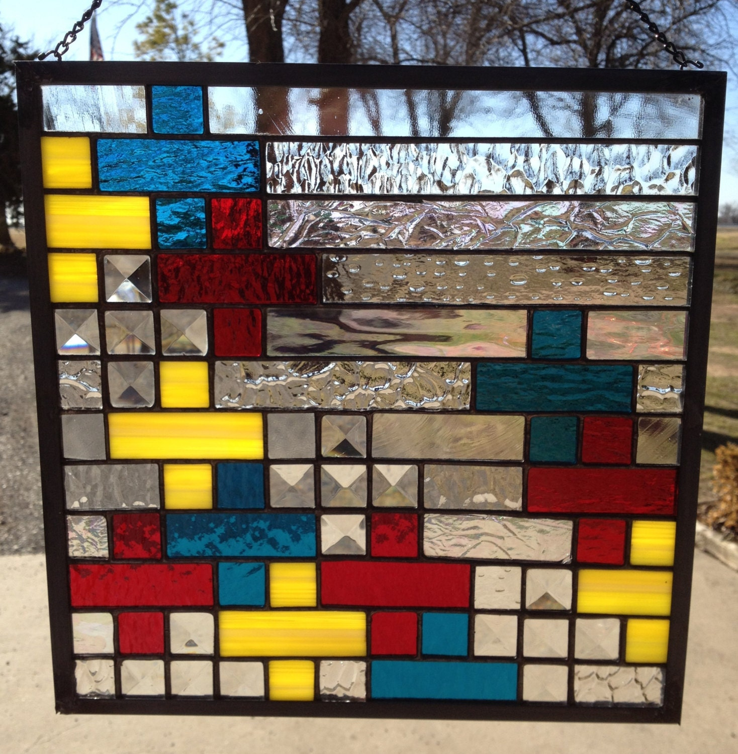 Contemporary stained glass panel colorful geometric plus or for Contemporary stained glass