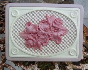 Vintage Light Purple and Pink Plastic Jewelry Box With Roses and Lattice Work on Top Small Dresser/Bureau Keepsake Box 1950s to 1960s