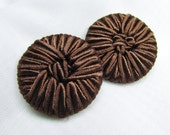 "Silken Elegance: 1-1/4"" (31mm) Chocolate Brown Soutache Cord-Covered Buttons - Set of 2 Vintage New Old Stock Buttons"