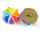 Metal shank fimo buttons rainbow umbrellas with metal spokes set of two