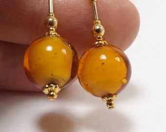 Butterscotch Murano Glass Earrings, 1 1/8 inch (2.9cm) Drops, Italian White Core Glass Beads with Gold Plate Accent Beads