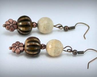 Jasper, Bone Earrings with Copper Accents.  Artisan.  Elegant, Flower Jewelry, Flower Earrings, Copper Jewelry, OOAK Gift for Her.
