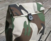 Camouflage Cloth lunch bag  // Re-useable lunch sack // washable lunch bag