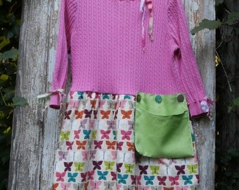 Pink Sweater with Butterfly Pattern Skirt, Oversized Pocket,Long Sweater,Upcycled, Eco Friendly