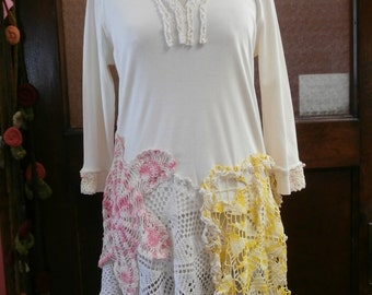 Cream Cotton Knit with Vintage Crochet Hemline,Bohemian Top,Victorian Top,Upcycled Top,Cottage Chic Top,Eco Top