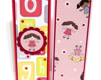 Girly: Paper Bookmarks- Set of 2- approx. 2 1/2 x 7 inches