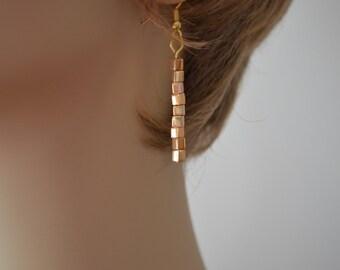 Gold dangle earrings, Gold earrings with sparkle, Gold cube earrings