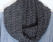 Crochet Infinity Scarf - Charcoal Gray Grey - Fashion Accessories - Chunky Knit Scarf