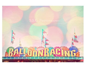 Carnival Photography. Carnival Game. Fair. Balloon Racing. Bokeh. Dreamy. Whimsical. Nursery art. Pastel. Colorful. Cute.