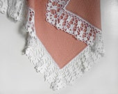 Knitted Baby Blanket - Pink and White