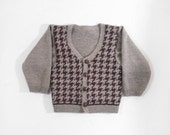 Knitted Boy Cardigan - Gray Brown, 2T