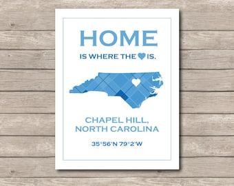 Chapel Hill, North Carolina UNC Blue Printable, Tarheel Art Print, Carolina Blue