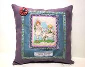 Easter pillow, decorative Easter pillow, vintage postcard pillow, blue pillow
