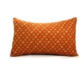 Orange pillow cover, rust Ikat pillow, orange pillow, Moroccan pillow, lumbar linen pillow, 14 x 20