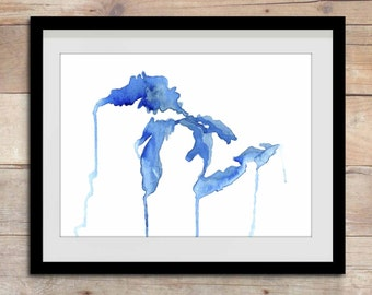 The Living Great Lakes, Great Lakes watercolor map, Michigan map, Michigan, Great Lakes, Great Lakes Painting, Drippy Lakes, The Big Lake