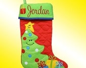 Christmas Stocking - Personalized and Embroidered - Christmas Tree Applique - Supplies are limited . . . Order Quickly!