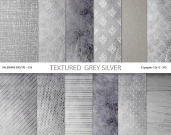 Silver digital paper, grey scrapbook paper, digital backgrounds, grey textures - Pack 638