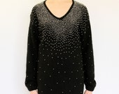 Black Sweater Dress 80s Angora Silk Knit Pearl Beaded LBD, fitted ombre beadwork embellished black & white femme fatale little black dress