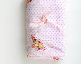 Vintage Pink and White Polka Dot Twin Sheet, Raggedy Ann and Andy
